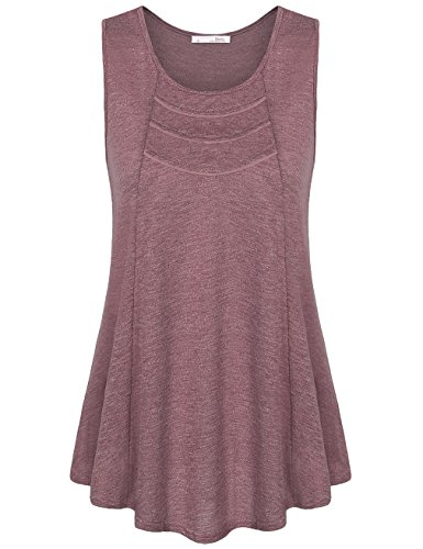Messic Women's Sleeveless Round Neck A Line Loose Fitting Tank Tops