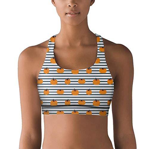 Milr Gile Women's Halloween Pumpkin Striped Pattern Workout Yoga Bra Removable Padded Sports Bras