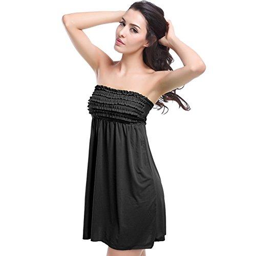 Strapless Mini Sleeveless (Yanekop Women Bathing Suit Cover up Srtrapless Beach Dress Tankini Tops Swimwear(Black))