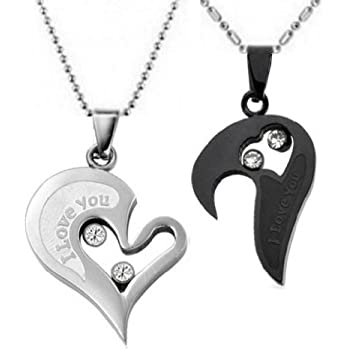 Amazon Com Couple Stainless Steel Necklace Sets I Love
