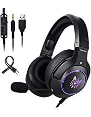 ONIKUMA Gaming Headset, 7.1 Surround Sound PC Gaming Headset and Noise Cancelling Mic Headphones-Memory Foam Ear Pads for New Xbox one , PS4,Laptops, Computer, Mac and Macbook with RGB Light