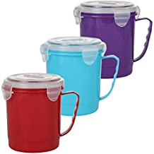 Home-X Microwave Soup Mug with Secure Snap Close Lid, 22 oz, Set of 3 Colors (Red, Blue and Purple)
