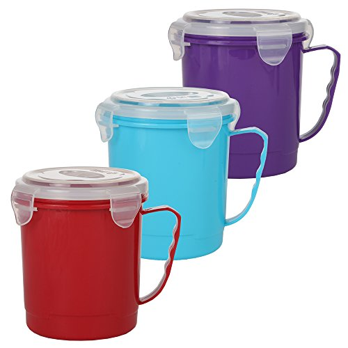Home-X - Microwave Soup Mug Set with Secure Snap Close Vented Lids, 22 oz Mugs Allow You to Heat and Eat Soups, Noodles, Hot Cereal and More in a Single Container, Set of 3, Red, Blue and Purple (Mug Thermos Microwavable)