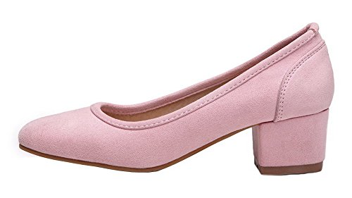 Pink WeiPoot Women's Heels Pull Shoes Suede On Pumps Solid Imitated Kitten Cvwrq61C