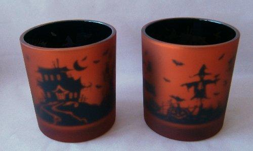 Set of 2 HAUNTED HOUSE Flickering Halloween Orange Votive ...