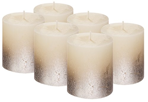 Bolsius SET OF 6 Rustic Metallic Unscented Pillar Candle With Silver Coated Bottom 80/68mm (Aprox. 3.2 X 2.75 Inces)Inces) ... (Ivory / Silver)