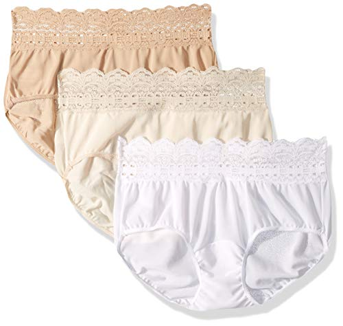 - Olga Women's Secret Hugs 3 Pack Hipster Panty, French Toast/Pale Blush/White, M