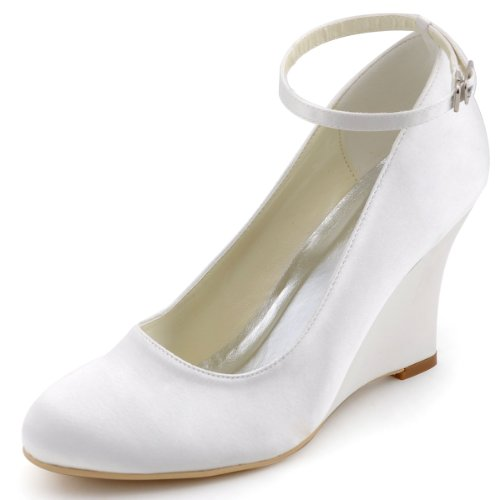 ElegantPark A610 Women Wedge Heel Pumps Closed Toe Ankle Strap Satin Bridal Wedding Shoes Ivory US 8 Cream Satin Shoes