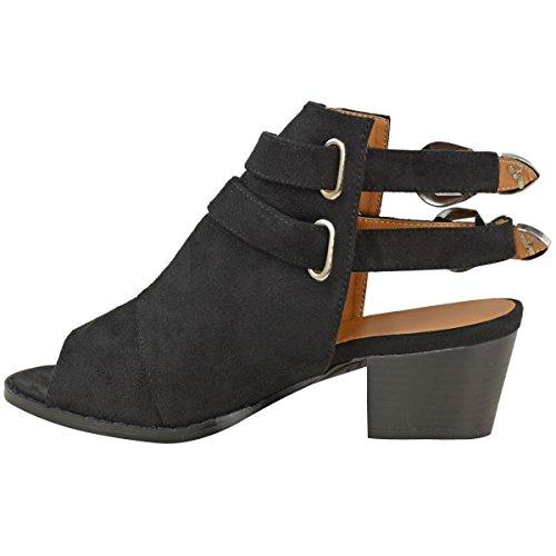 Noir à style Suède Sandales Faux talons femme Boucle style boucles Argentée bottines à larges cowboy nXd7PTqdwA