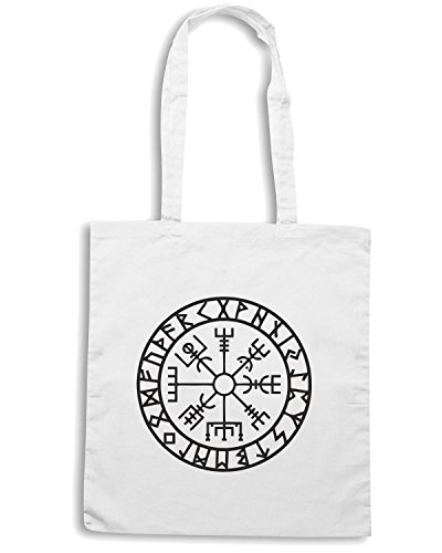 T-Shirtshock - Bolsa para la compra TIR0267 Vegvisir - Futhark - Runes - Navigator Blanco