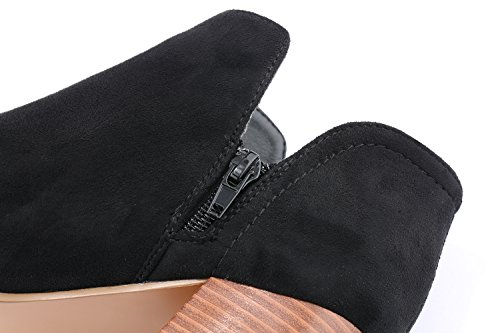 On Toe Stacked FISACE Ankle Booties Boots Heels Chunky Peep Slip Cutout Black Womens Block fSqRwU