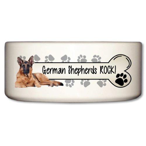 VictoryStore Pet and Dog Food Bowl - Ceramic Dog Bowl - German Shepherds Rock - Paw Prints Design