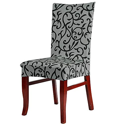 Tuscom Printed Rattan Stretch Chair Covers|Soft Spandex Seat Protector Removable Slipcover |for Dining Room Hotel Wedding Party Chair Cover(8colors) (Gray)