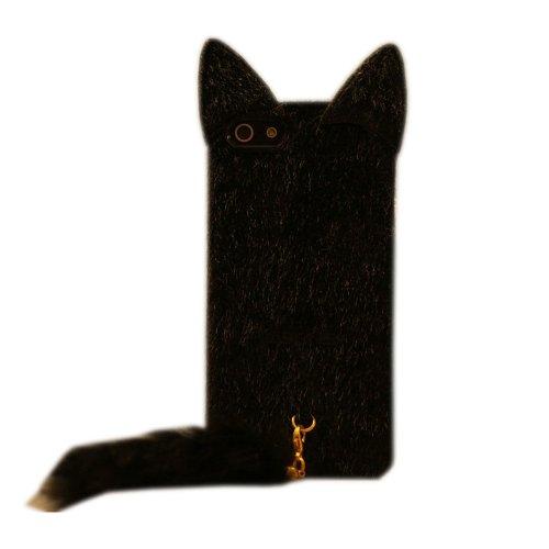 TFS Cute Black 3D Fluffy Plush Tail Cat Flexible TPU Case Cover For Apple iPhone 5C