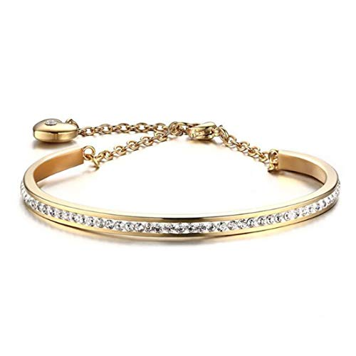 FOXI YOUTH Girl's Full Stones Tennis Cuff Bangle Heart Charm Link Chain Bracelet 18K Gold Plated