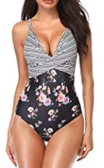 B2prity One Piece Swimsuits for WomenFeatures Description: Material:Polyamide + Elastane Gender:Swimsuits for Women Style: Monokini, Vintage, High Neck,Stretchy, Retro Bathing Suit Sizes: (S, M, L, XL/ OX)/US(4-6,8-10,12-14,16-18, 20-22)Size ...
