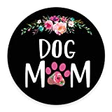 Smooffly Dog Mom Floral Design Round Gaming Mouse Pad Size 7.9 x 7.9 x 0.12 Inch