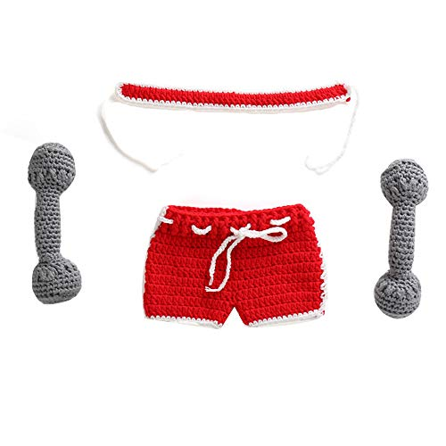 Newborn Baby Knit Crochet Clothes Costume Photo Photography Props Cute Outfit (Red) ()