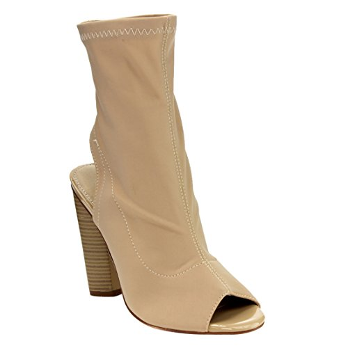 Beston FG21 Women's Stretchy Peep Toe Block Heel Ankle Booties, Color:TAUPE, (Taupe High Heel Peep Toe)