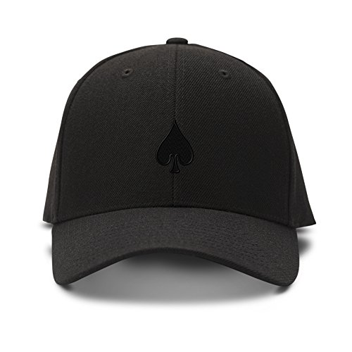 (Spade Poker Card Playing Embroidery Adjustable Structured Baseball Hat Black)