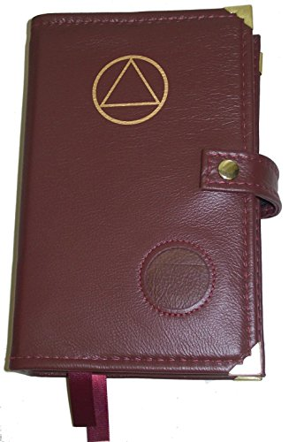 Culver Enterprises Burgundy Leather Double AA Alcoholics Anonymous Big Book & 12 Steps and 12 Traditions Book Cover Symbol and Medallion Holder by Culver Enterprises (Image #1)