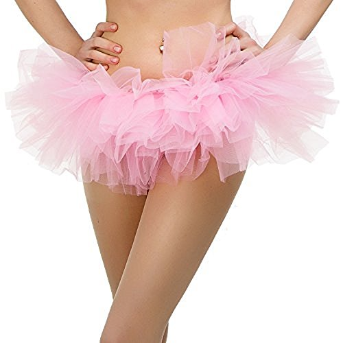 Tutu Ballet Skirt (One Size Fits All) with 5 Layers of Tulle & Satin Lined Waistband Miniskirt Tutu for All Women (Pink)