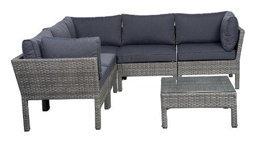 (Atlantic 6-Piece Infinity Wicker Seating Set with Grey)