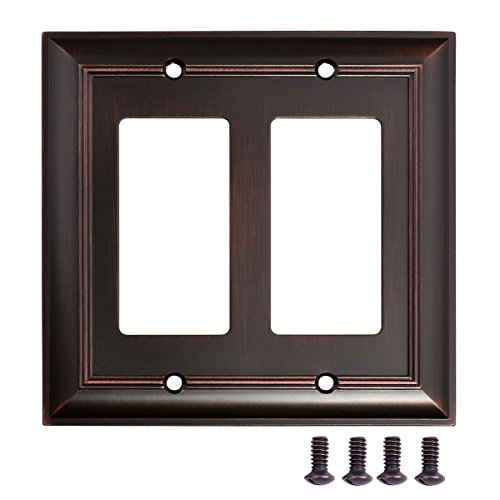 AmazonBasics Double Gang Wall Plate, Oil Rubbed Bronze, 2-Pack (Bronze Double Rocker)