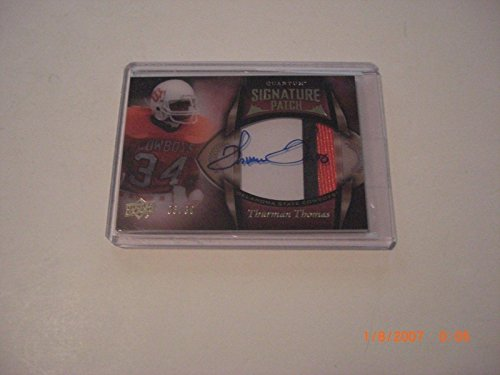 - Thurman Thomas 2013 Ud Quantum 3-color Game Used Jersey Auto 6/30 Signed Card - Football Game Used Cards