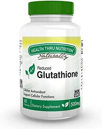 Glutathione Reduced GSH 500mg 60 Vege-Capsules (Natural) by Health Thru Nutrition