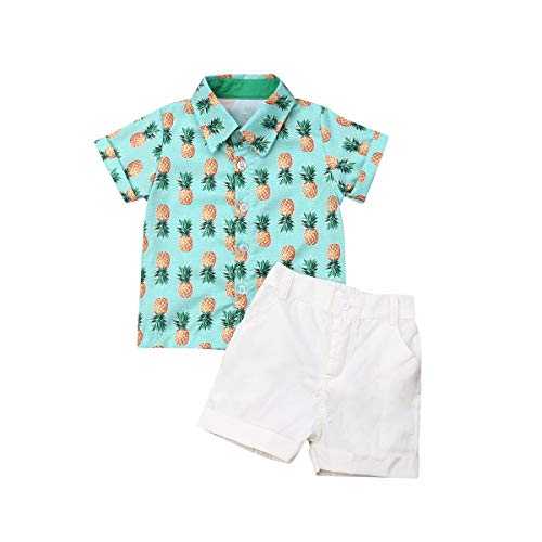 Boy Flamingo Short Sleeve Button Down Shirt & Pink Shorts Pants Kids Summer Outfits 1-6 T Clothes Set (Green&Yellow, 2-3T)]()