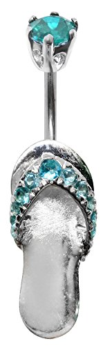 (Silver Flip Flop Belly Button Ring with CZ Aquamarine Crystal - Packed in a Lovely Velvet Pouch)