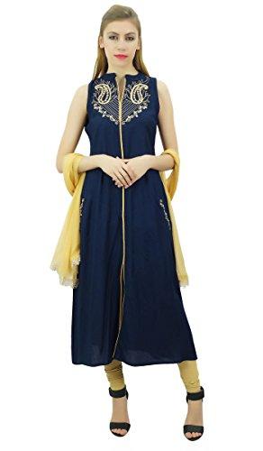 und Ethnic Rayon Atasi Marineblau Set bestickt Frauen Beige Dupatta mit Anzug Indian vqqwtA5r