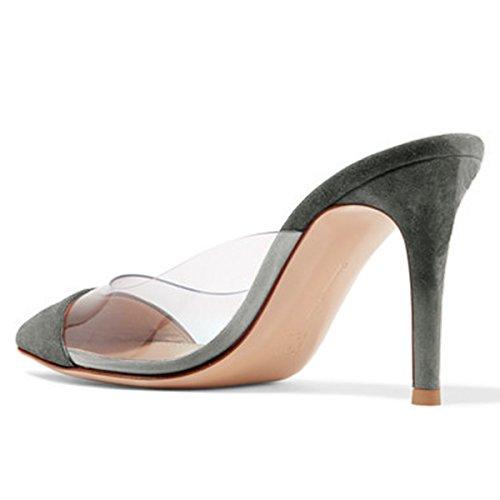 Fsj Donna Moda Chiaro Sandali A Punta Tacco Basso Muli Slip On Stiletto Scarpe Sexy Taglia 4-15 Us Grigio