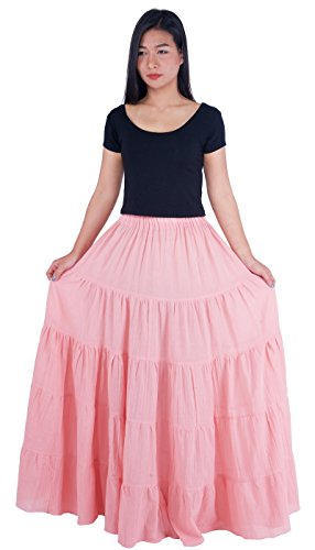 Skirt Cotton Circle (Lannaclothesdesign Women's Cotton Long Ruffle Full Circle Long Skirts Maxi Skirt One Size Pink)