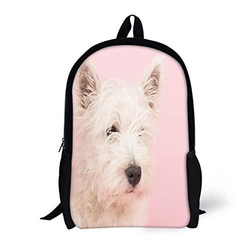 (Pinbeam Backpack Travel Daypack Pink Dog West Highland White Terrier Westie Westy Waterproof School Bag)