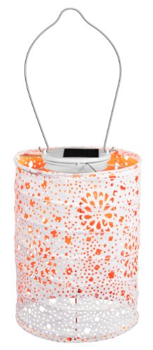 Allsop Home and Garden Soji Stella Neon LED Outdoor Solar Lantern, Handmade with Weather-Resistant UV Rated Tyvek fabric, Stainless Steel Hardware, Auto sensor on/off,  for Patio, Deck, Garden, Color