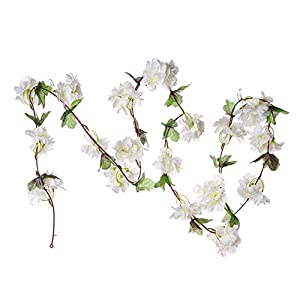 MARJON FlowersArtificial Silk Cherry Blossom Flower Garland Ivy Vine Fake Hanging Plant Leaves Garlands for Wedding Party Garden Wall Home Decoration (White) 1
