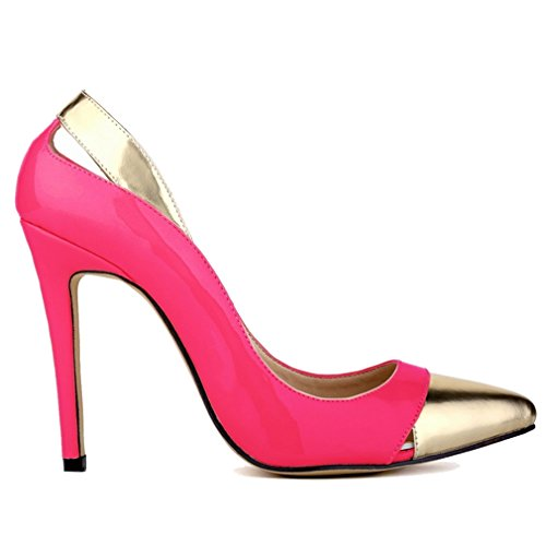 Chaussures Brevet cuir Combat Mouth Pompes 1 de Talon Rose Hollow Femmes Creux de Couleur Xianshu Haute Couture xUFEqYUw5