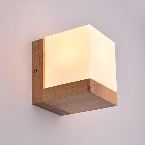 Vampsky Northern Europe Creative Square Sugar Wall Light Lighting Fixtures American Village Oak Glass Single Head Wall Sconce Lamp Wall Lantern for Restaurant Aisle Bar Counter Cafe with E27 Socket