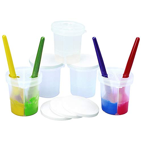 Colorations Double-Dip Divided Paint Cups Multipack for Kids Painting Supplies(Set of 5)