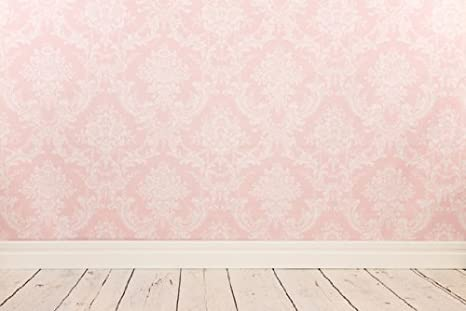 amazon com 5x7ft pink damask wallpaper vinyl backdrop wood floor