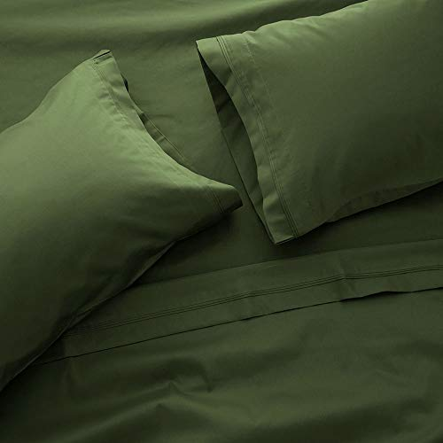 400 Thread Count Bed Sheet Sets - Luxurious 100% Egyptian Cotton Deep Pocket Sheets - Bedding Set Includes One Flat Sheet, One Fitted Sheet & Two Pillowcases - California King, Hunter Green