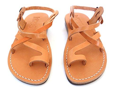 Sandales En Cuir Véritable Pour Homme, Tongs, Sandales Bibliques, Style Tel Aviv Par Sandalim Caramel