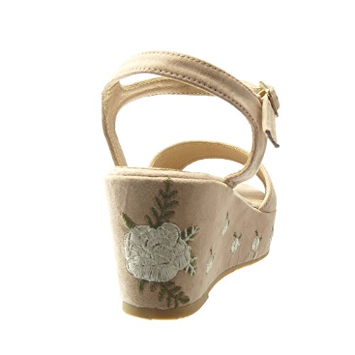 Plateforme Plateforme Chaussure Compensé Talon 5 Sandale Brodé Femme cm Rose Angkorly Mule Mode 6 Fleurs 7vqdnI