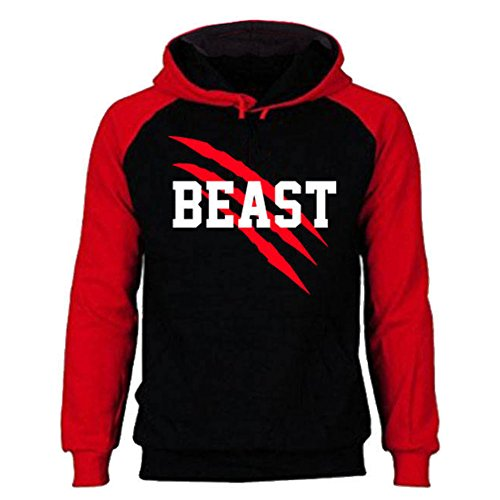 SR New Beast and Beauty - Couple Matching Hoodie - His and Her Sweatshirt-BlackRed-Large-Beast ONLY
