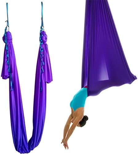 Wellsem5.5 Yards(5m/set) Elastic Pilates Yoga Aerial Swing Yoga Hammock with Carabiner&daisy Chain