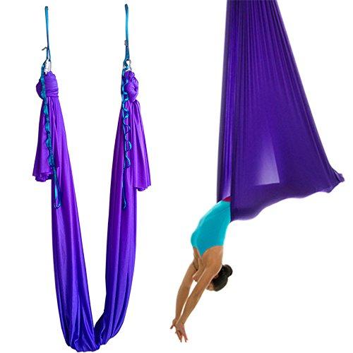 wellsem 5 Yards(5m/set) Elastic Yoga Pilates Swing Aerial Yoga Hammock with Carabiner & daisy Chain (Depp Purple, 5meter)