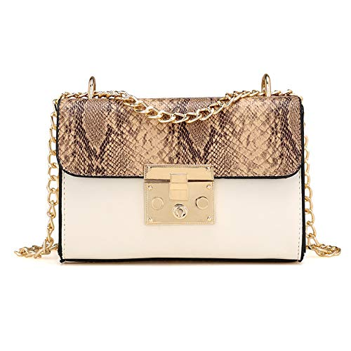 - WEUIE Women Shoulder Bags With Metal Chain Strap - Snakeskin Print Messenger Bags Handbags Crossbody Bags