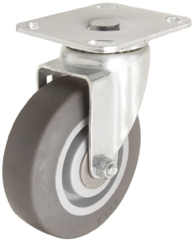 RWM Casters 30 Series Plate Caster, Swivel, TPR Rubber Wheel, Roller Bearing, 350 lbs Capacity, 5